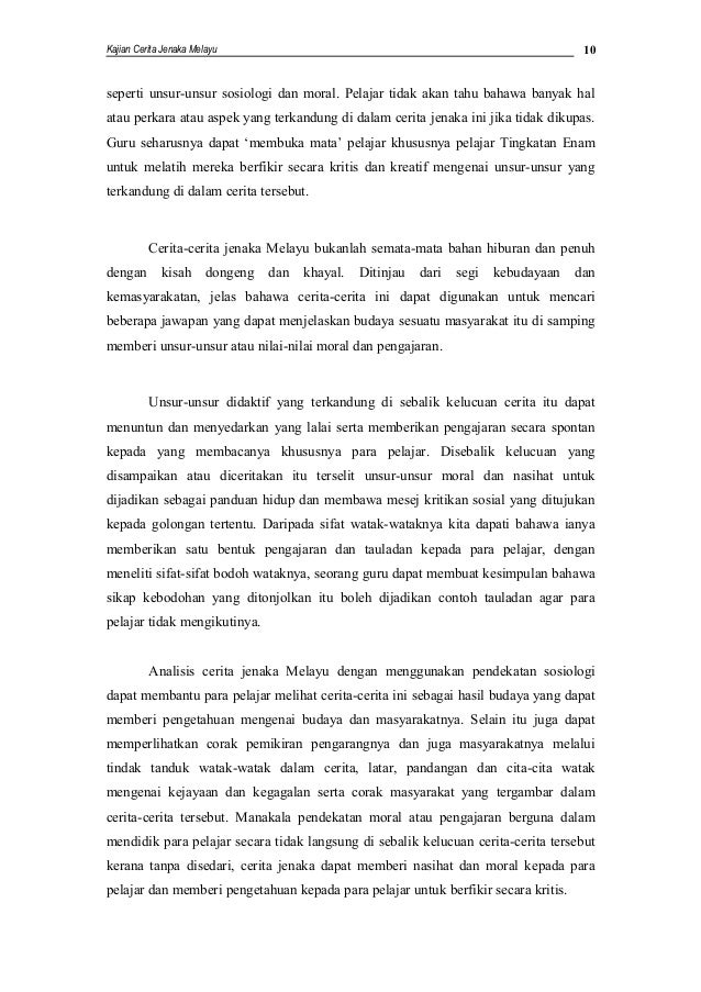 Analisis Cerita Jenaka Melayu