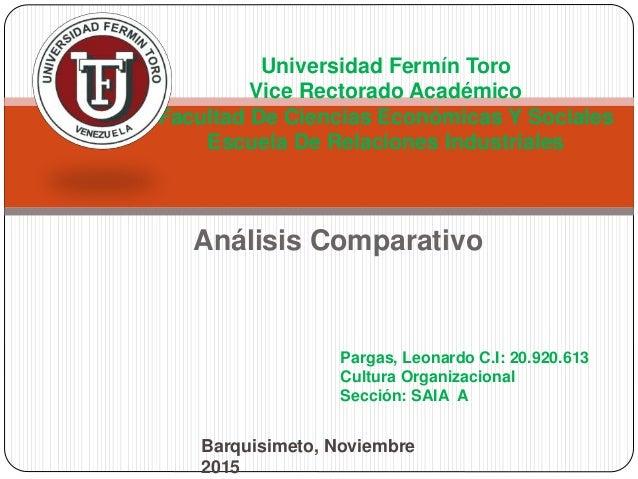 Análisis Comparativo Universidad Fermín Toro Vice Rectorado Académico Facultad De Ciencias Económicas Y Sociales Escuela D...