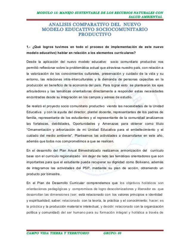 MODULO 15: MANEJO SUSTENTABLE DE LOS RECURSOS NATURALES CON SALUD AMBIENTAL ANALISIS COMPARATIVO DEL NUEVO MODELO EDUCATIV...