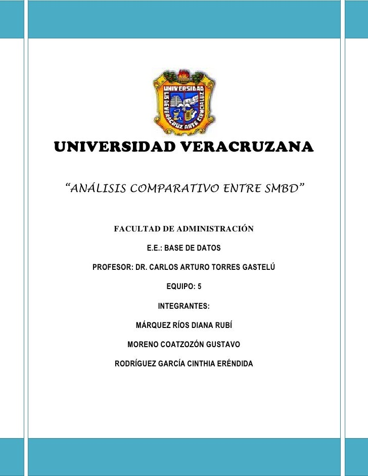 """UNIVERSIDAD VERACRUZANA  """"ANÁLISIS COMPARATIVO ENTRE SMBD""""          FACULTAD DE ADMINISTRACIÓN                 E.E.: BASE ..."""