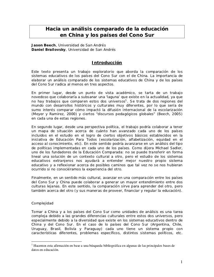 Hacia un análisis comparado de la educación              en China y los países del Cono SurJason Beech, Universidad de San...