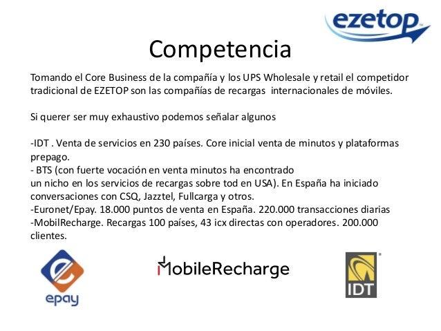 Competencia Tomando el Core Business de la compañía y los UPS Wholesale y retail el competidor tradicional de EZETOP son l...