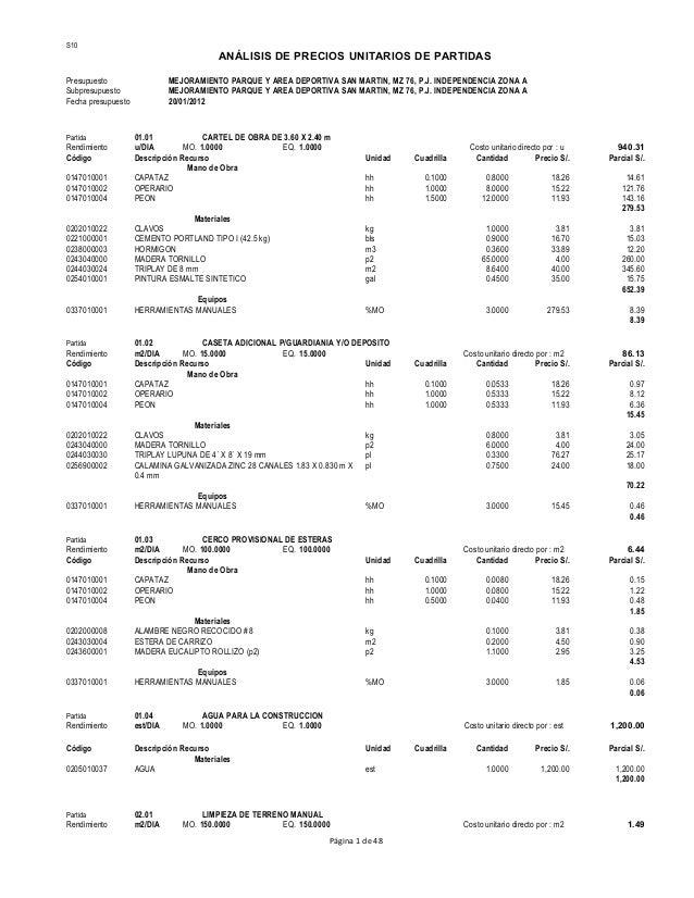 Costos unitarios por m2 de construccion donde analisis for Precio por metro cuadrado de construccion