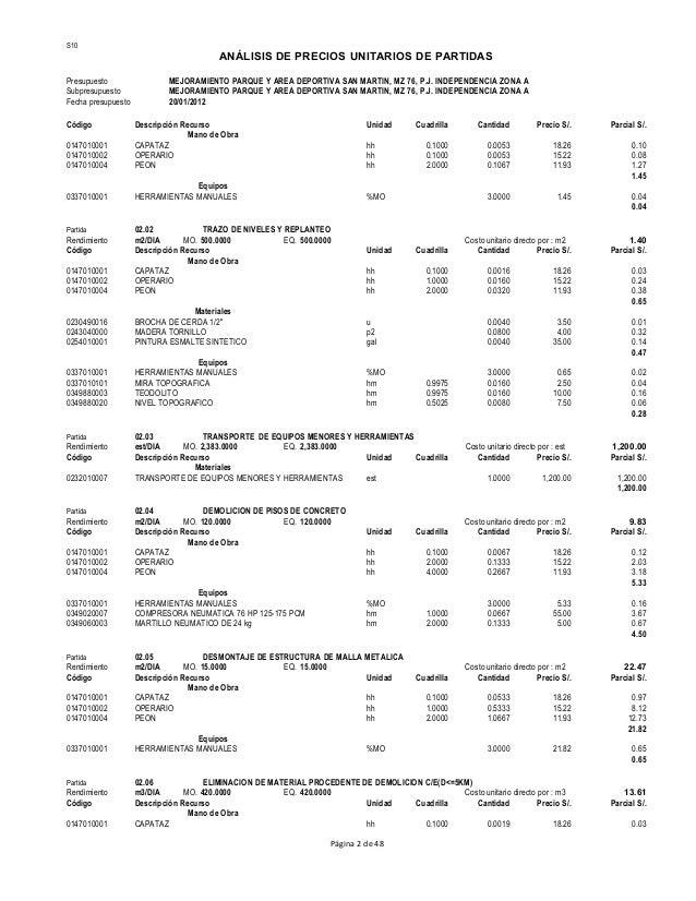 Analisis costos unitarios de partidas 12