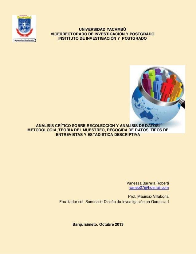 UNIVERSIDAD YACAMBÚ VICERRECTORADO DE INVESTIGACIÓN Y POSTGRADO INSTITUTO DE INVESTIGACIÓN Y POSTGRADO  ANÁLISIS CRÍTICO S...