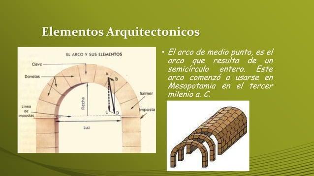 Elementos Arquitectonicos • El arco de medio punto, es el arco que resulta de un semicírculo entero. Este arco comenzó a u...