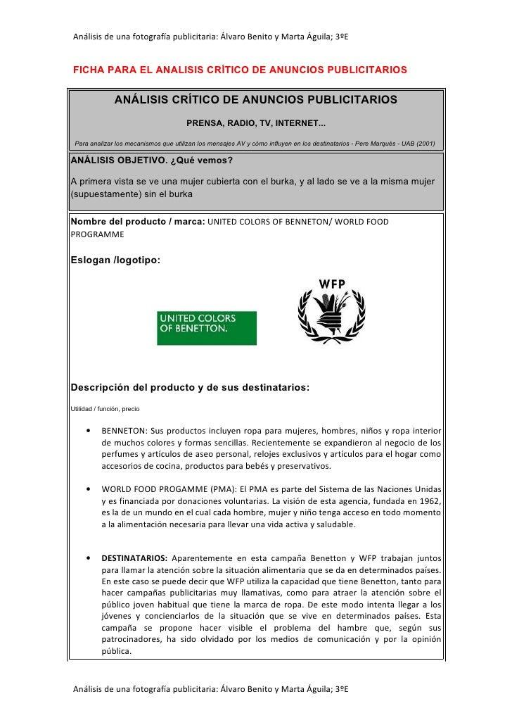 Análisis de una fotografía publicitaria: Álvaro Benito y Marta Águila; 3ºE   FICHA PARA EL ANALISIS CRÍTICO DE ANUNCIOS PU...