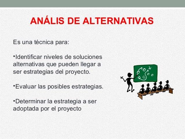 ANÁLIS DE ALTERNATIVAS Es una técnica para: •Identificar niveles de soluciones alternativas que pueden llegar a ser estrat...