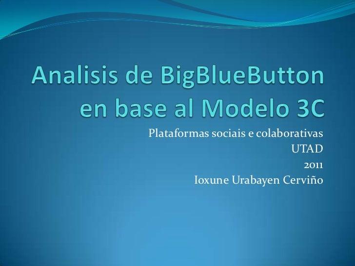 Analisis de BigBlueButton en base al Modelo 3C<br />Plataformas sociais e colaborativas<br />UTAD<br />2011<br />IoxuneUra...