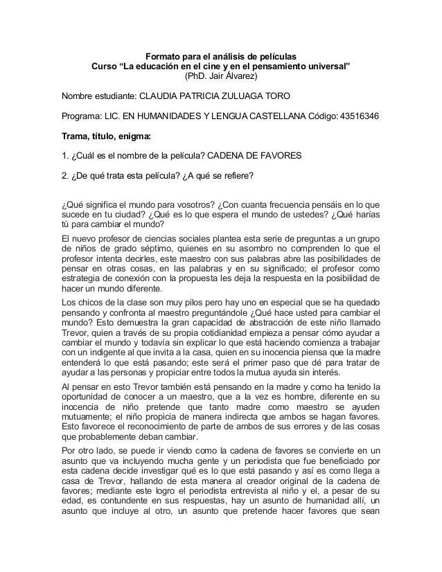 """Formato para el análisis de películas Curso """"La educación en el cine y en el pensamiento universal"""" (PhD. Jair Álvarez) No..."""