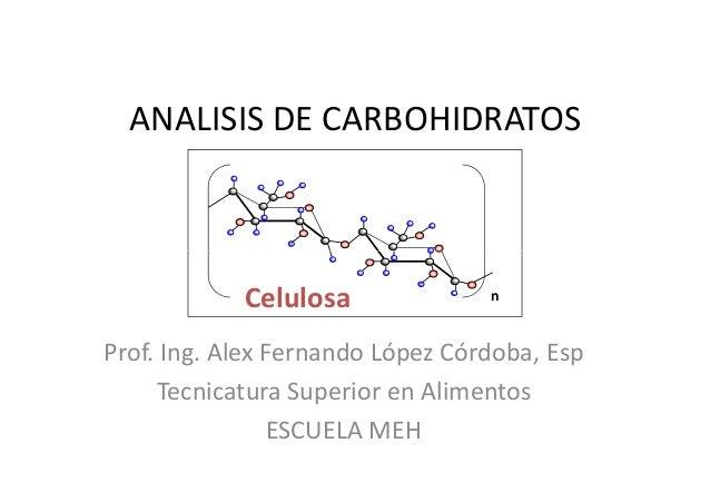 ANALISIS DE CARBOHIDRATOS Prof. Ing. Alex Fernando López Córdoba, Esp Tecnicatura Superior en Alimentos ESCUELA MEH Celulo...