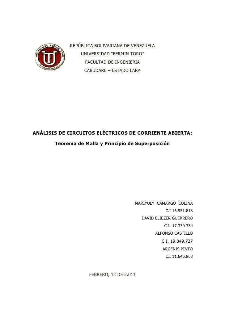 """REPÚBLICA BOLIVARIANA DE VENEZUELA                 UNIVERSIDAD """"FERMIN TORO""""                  FACULTAD DE INGENIERIA      ..."""