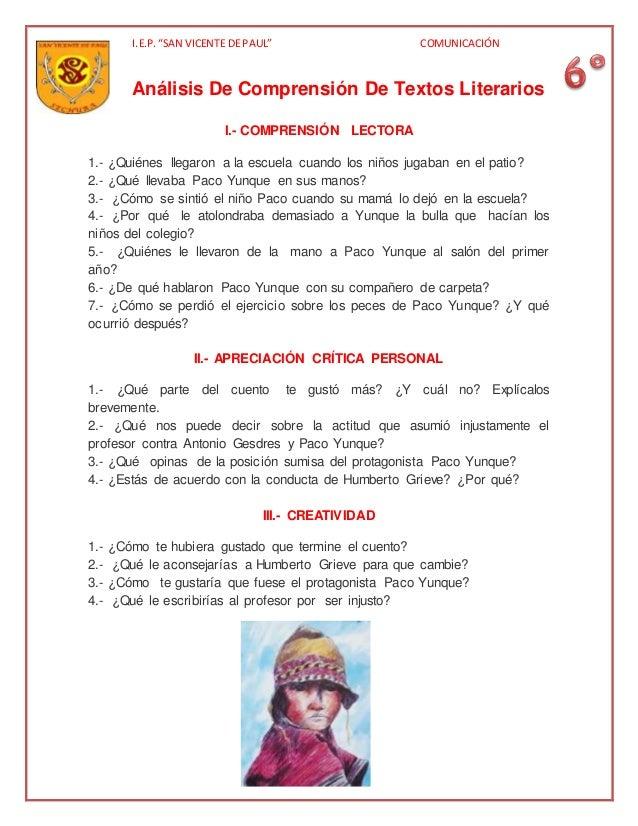 "I.E.P.""SAN VICENTE DE PAUL"" COMUNICACIÓN Análisis De Comprensión De Textos Literarios I.- COMPRENSIÓN LECTORA 1.- ¿Quiénes..."