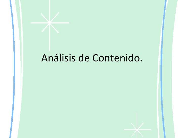 Análisis de Contenido.<br />