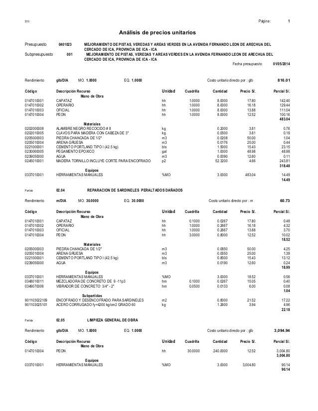 Analisis de costos unitarios leon arechua for Precio mano de obra colocacion tela asfaltica