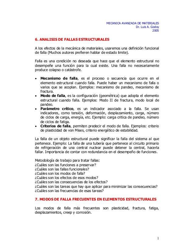 1 MECANICA AVANZADA DE MATERIALES Dr. Luis A. Godoy 2005 6. ANALISIS DE FALLAS ESTRUCTURALES A los efectos de la mecánica ...