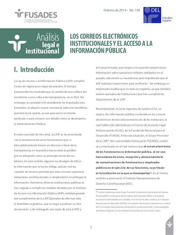 LOSCORREOSELECTRÓNICOS INSTITUCIONALESYELACCESOALA INFORMACIÓNPÚBLICA Análisis legale institucional Estudios Legales Febre...