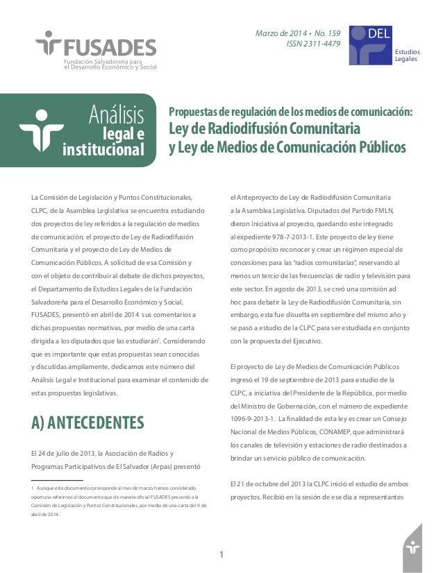 Propuestasderegulacióndelosmediosdecomunicación: LeydeRadiodifusiónComunitaria yLeydeMediosdeComunicaciónPúblicos Análisis...