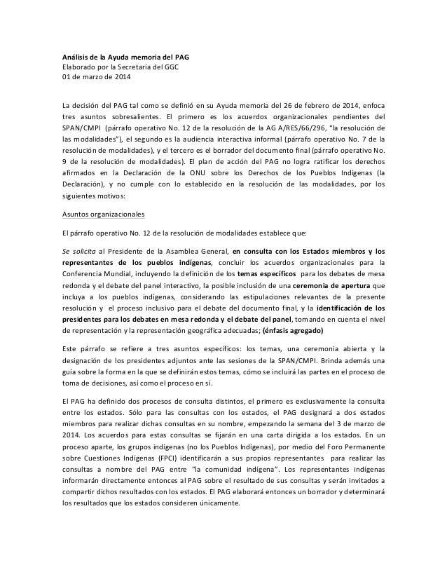 Análisis  de  la  Ayuda  memoria  del  PAG   Elaborado  por  la  Secretaría  del  GGC   01  de...