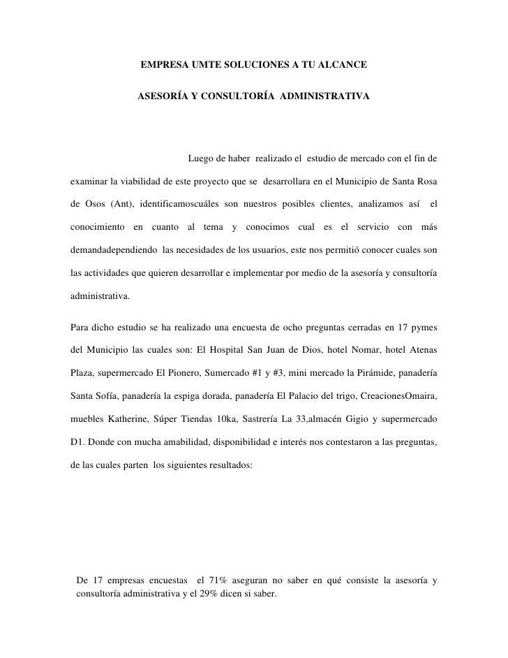 EMPRESA UMTE SOLUCIONES A TU ALCANCE                  ASESORÍA Y CONSULTORÍA ADMINISTRATIVA                              L...
