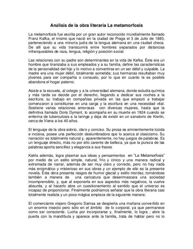 """ANALISIS DE LA OBRA LITERARIA """"LA METAMORFOSIS"""" Slide 2"""