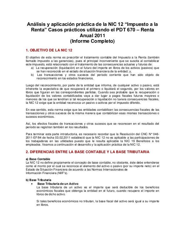 """Análisis y aplicación práctica de la NIC 12 """"Impuesto a la  Renta"""" Casos prácticos utilizando el PDT 670 – Renta          ..."""