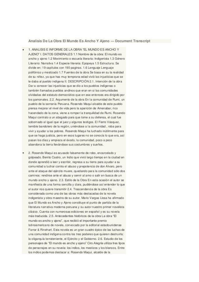 """Analisis De La Obra El Mundo Es Ancho Y Ajeno — Document Transcript1. ANALISIS E INFORME DE LA OBRA """"EL MUNDO ES ANCHO YAJ..."""