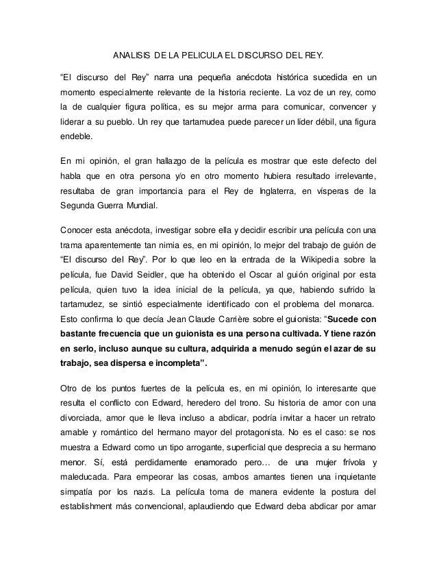Analisis De La Pelicula El Discurso Del Rey