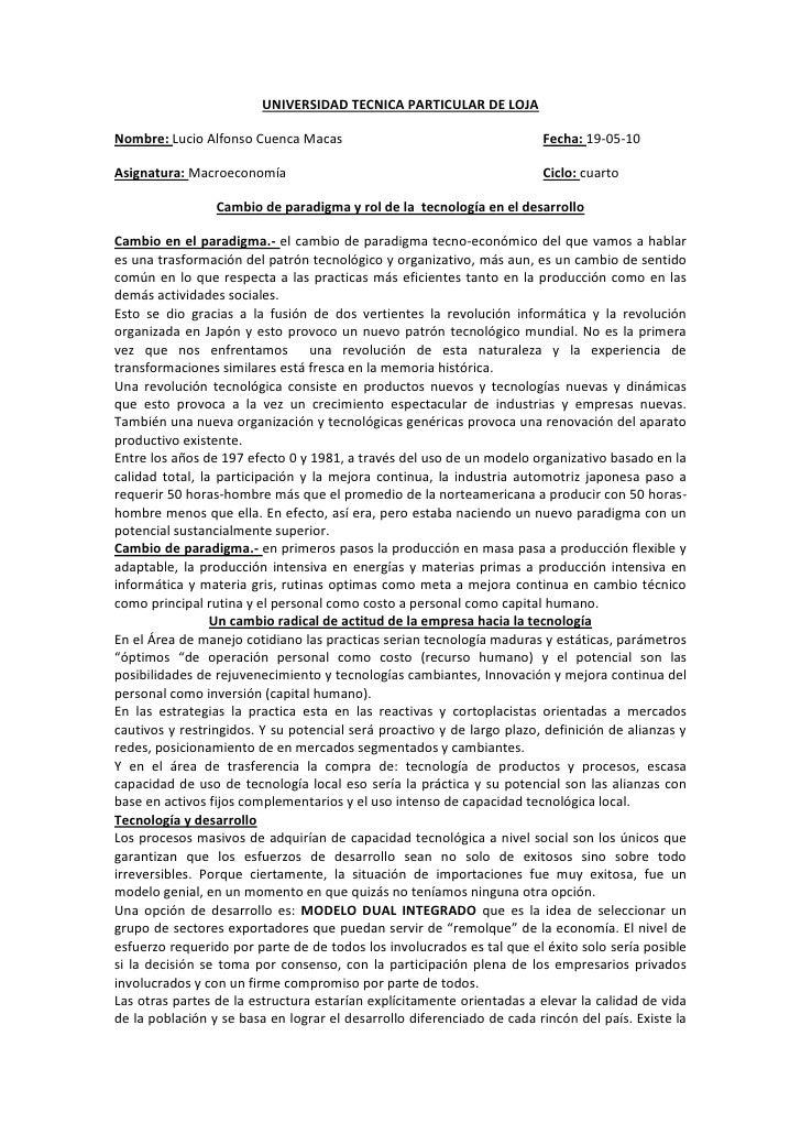 UNIVERSIDAD TECNICA PARTICULAR DE LOJA<br />Nombre: Lucio Alfonso Cuenca MacasFecha: 19-05-10<br />Asignatura: Macroeconom...
