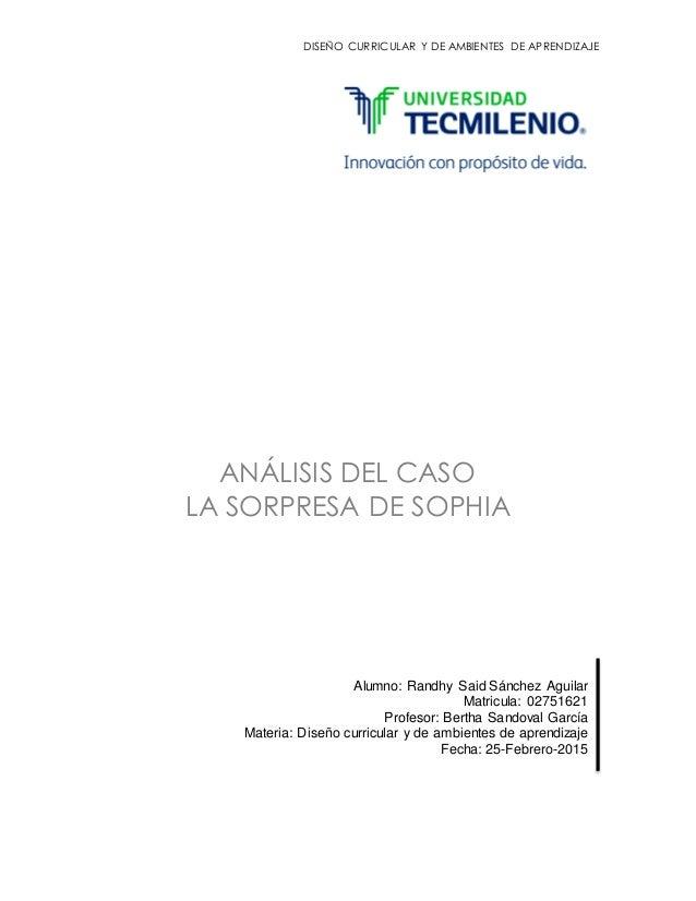 DISEÑO CURRICULAR Y DE AMBIENTES DE APRENDIZAJE ANÁLISIS DEL CASO LA SORPRESA DE SOPHIA Alumno: Randhy Said Sánchez Aguila...