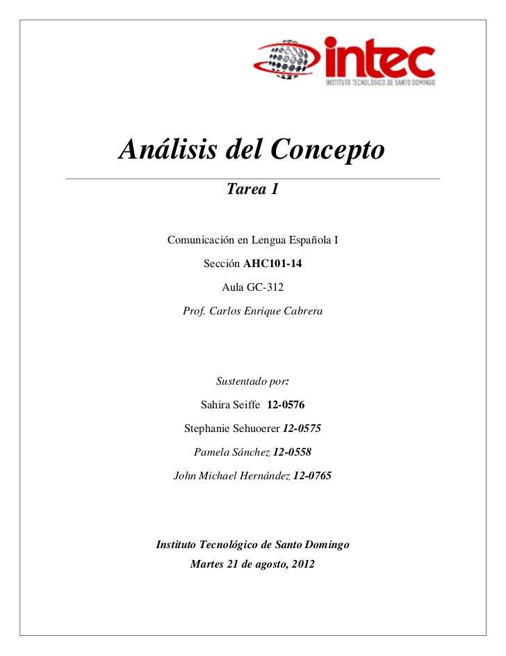 Análisis del Concepto               Tarea 1    Comunicación en Lengua Española I           Sección AHC101-14              ...