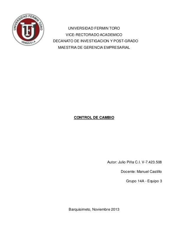 UNIVERSIDAD FERMIN TORO VICE-RECTORADO ACADEMICO DECANATO DE INVESTIGACION Y POST-GRADO MAESTRIA DE GERENCIA EMPRESARIAL  ...
