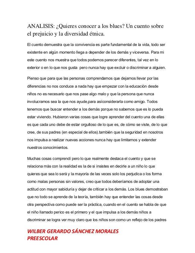 WILBER GERARDO SÁNCHEZ MORALES PREESCOLAR ANALISIS: ¿Quieres conocer a los blues? Un cuento sobre el prejuicio y la divers...