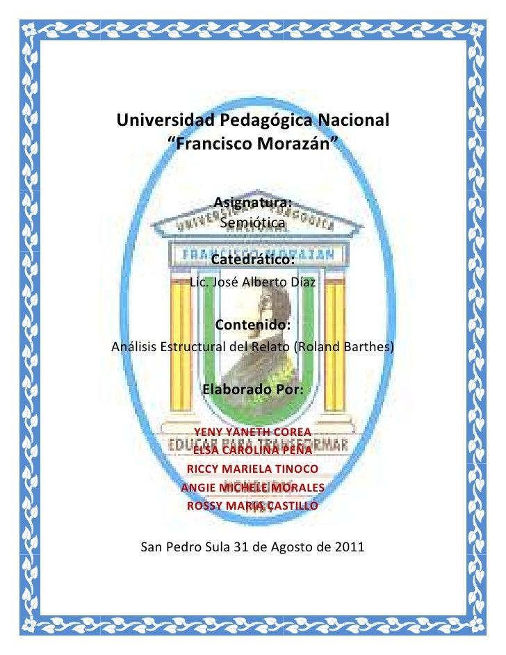 """454025109855<br />Universidad Pedagógica Nacional<br />""""Francisco Morazán""""<br />Asignatura:<br />Semiótica<br />Catedrátic..."""