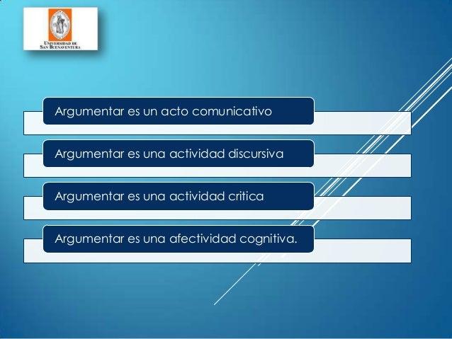 Argumentar es un acto comunicativoArgumentar es una actividad discursivaArgumentar es una actividad criticaArgumentar es u...
