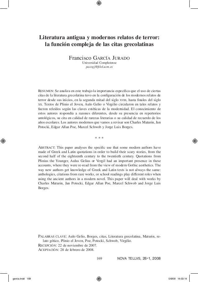 169 nova tellvs, 26◆ 1, 2008 Literatura antigua y modernos relatos de terror: la función compleja de las citas grecolatin...