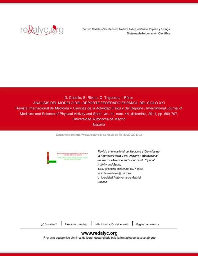 Red de Revistas Científicas de América Latina, el Caribe, España y Portugal  Sistema de Información Científica  D. Cabello...
