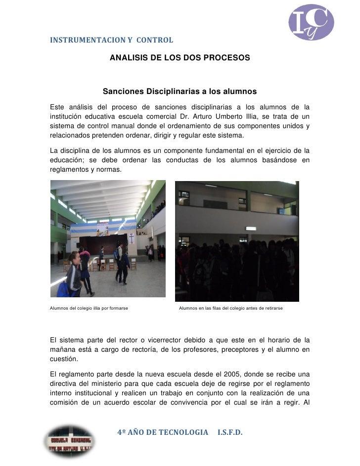 INSTRUMENTACION Y CONTROL                             ANALISIS DE LOS DOS PROCESOS                         Sanciones Disci...
