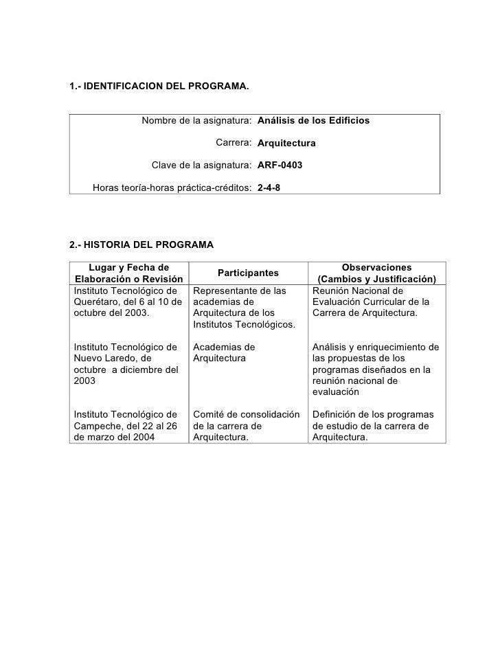 1.- IDENTIFICACION DEL PROGRAMA.               Nombre de la asignatura: Análisis de los Edificios                         ...