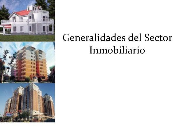 Generalidades del Sector     Inmobiliario