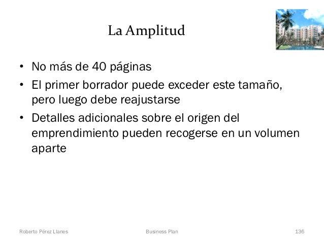 La Amplitud• No más de 40 páginas• El primer borrador puede exceder este tamaño,  pero luego debe reajustarse• Detalles ad...