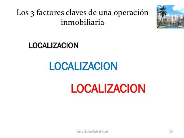 Los 3 factores claves de una operación             inmobiliaria   LOCALIZACION         LOCALIZACION               LOCALIZA...