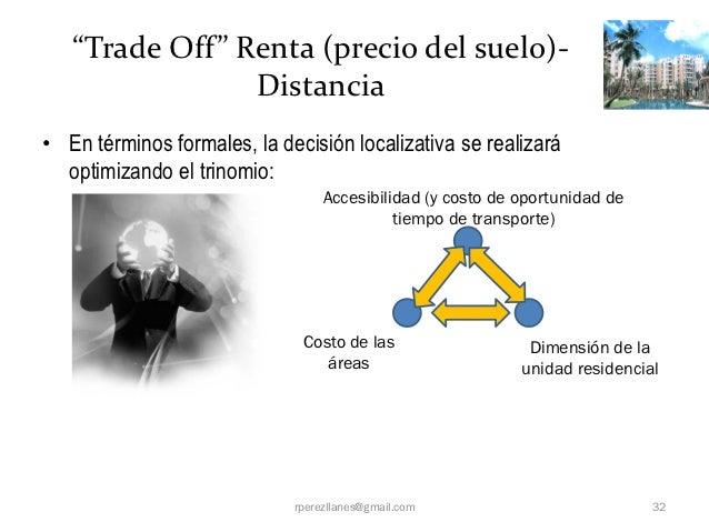 """""""Trade Off"""" Renta (precio del suelo)-                Distancia• En términos formales, la decisión localizativa se realizar..."""