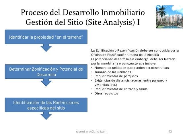 """Proceso del Desarrollo Inmobiliario       Gestión del Sitio (Site Analysis) IIdentificar la propiedad """"en el terreno""""     ..."""
