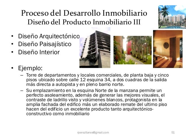 Proceso del Desarrollo Inmobiliario      Diseño del Producto Inmobiliario III• Diseño Arquitectónico• Diseño Paisajístico•...