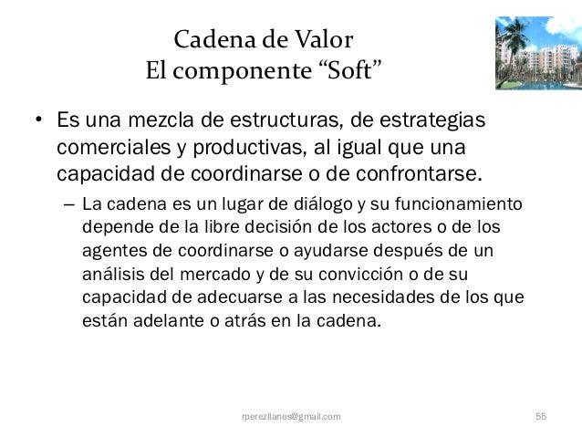 """Cadena de Valor           El componente """"Soft""""• Es una mezcla de estructuras, de estrategias  comerciales y productivas, a..."""