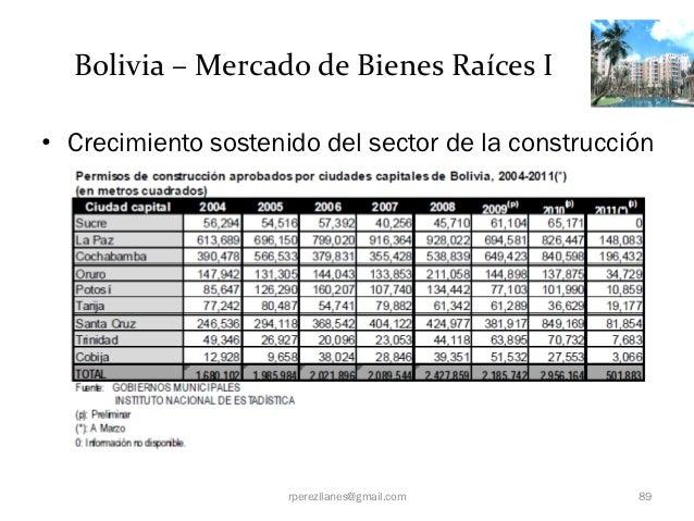 Bolivia – Mercado de Bienes Raíces I• Crecimiento sostenido del sector de la construcción                     rperezllanes...