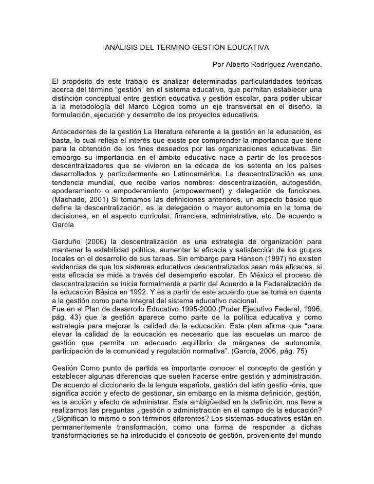 ANÁLISIS DEL TERMINO GESTIÓN EDUCATIVA                                                 Por Alberto Rodríguez Avendaño.El p...