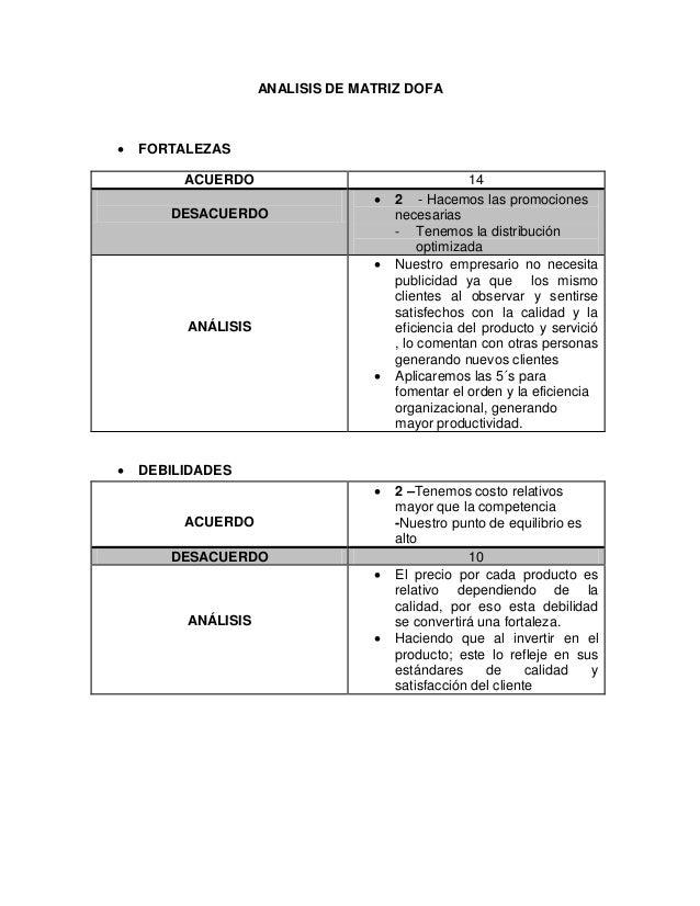 ANALISIS DE MATRIZ DOFA    FORTALEZAS ACUERDO  DESACUERDO   ANÁLISIS     14 2 - Hacemos las promociones necesarias - ...