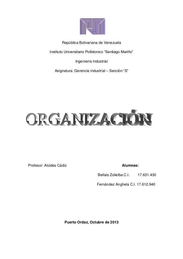 """República Bolivariana de Venezuela Instituto Universitario Politécnico """"Santiago Mariño"""" Ingeniería Industrial Asignatura:..."""